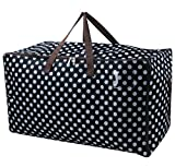 Thick Over Size Storage Bags for Seasonal Clothes, Comforters in Closet/Attic, Festival Ornament Storage Containers in Garage, Three-size Zipper Design, Black with Dot