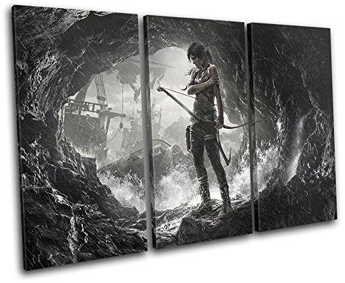 Bold Bloc Design - Lara Croft Tomb Raider Gaming 150x100cm TREBLE Leinwand Kunstdruck Box gerahmte Bild Wand hangen - handgefertigt In Grossbritannien - gerahmt und bereit zum Aufhangen - Canvas Art Print - Lara Design