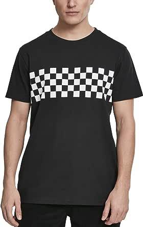 Urban Classics Herren T-Shirt mit Schachbrettmuster Bruststreifen Check Panel Tee