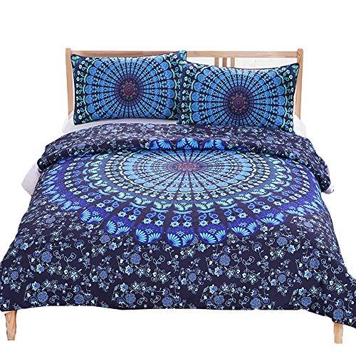 Homoor home copripiumini singola doppia rivestimenti del letto boemia stile floreale set di 3 pezzi (copripiumino * 1, federa * 2),blue,twin173cm*218cm