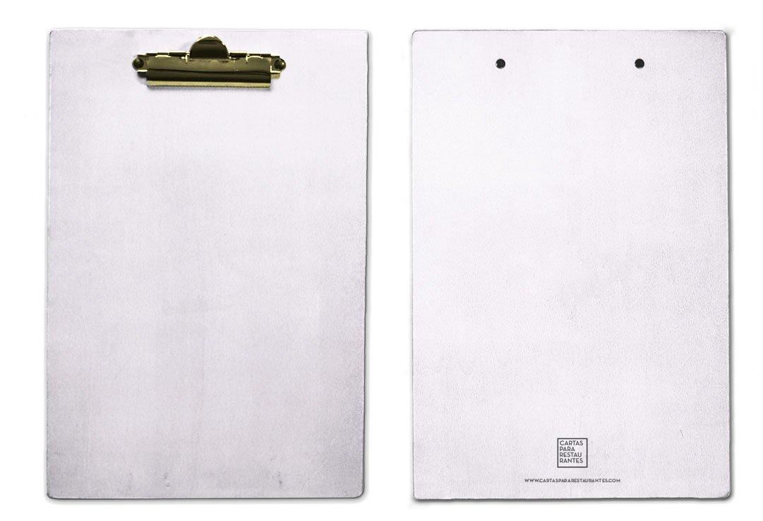 Pack 5Supporti in legno color bianco–DIN A4Cartellina con Clip dorato resistente