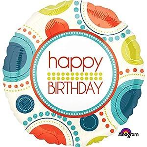 Amscan International-3455301feliz cumpleaños globo en forma de círculo divertido