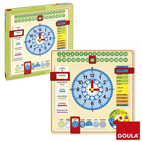 Goula - 51308 - Jouet en Bois - Eveil - Horloge Calendrier - Français [Französische Edition]