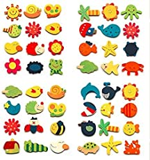 SHUANGYOU Wooden Cartoon or Nature Theme Fridge Magnets - Set of 144 PCS
