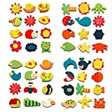 #1: Craftdev Colored Wooden Cartoon Or Nature Theme Fridge Magnets - Set Of 40