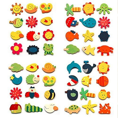 Craftdev Colored Wooden Cartoon Or Nature Theme Fridge Magnets -...