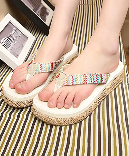 CHAOXIANG Pantofole Da Donna Antiscivolo Con tacco Ciabatte Piatte Sandali Da Surf Nuova Estate Ciabatte Spiaggia ( Colore : D , dimensioni : EU36/UK4-4.5/CN37 ) B