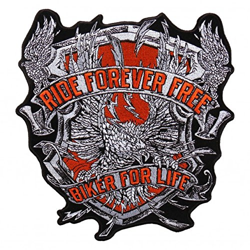 EAGLE BACK, RIDE FOREVER FREE BIKER FOR LIFE, Embroidered Iron-On / Saw-On, Heat Sealed Backing Rayon PATCH - 8