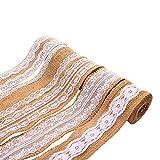 moinkerin 5 Rouleaux Bandes de Ruban de Toile de Jute avec Dentelle Ruban Vintage Band pour DIY Mariage Artisanat Couture Décoration, 5 cm x 2 m chacun Rouleau