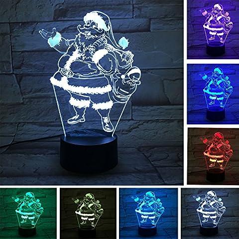 3D le père noël Nuit LED Lampes Art Déco Lampe la couleur changeant lumières LED, Décoration Décoration Maison Enfants Meilleur cadeau, Lumière Touch Control 7 couleurs Change