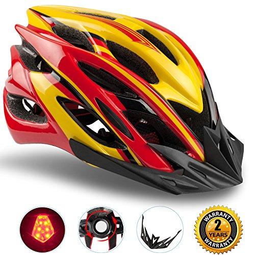 Shinmax Specialized Bike Helm mit Sicherheitslicht, Verstellbare Sport Fahrradhelm Fahrrad Fahrradhelme für Road & Mountain Biking, Motorrad für Erwachsene Männer und Frauen, Jugend - Racing, Sicherheit Schutz (Rot Gelb-Großes Licht)