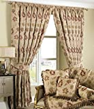 "Riva Paoletti Zurich Pencil Pleat Curtains (Pair) - Champagne Cream - Floral Jacquard Design - Matching Tiebacks - Room Darkening - 100% Polyester - 229cm width x 229cm drop (90"" x 90"" inches)"