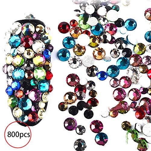 Nicedeal Nagelschmuck, Dekorationen, 3D-Dekoration, Nagelperlen, Strasssteine, Kunstharz, Goldmetall, bunt, für Damen und Mädchen, Schmuck, Zubehör, 800 Stück