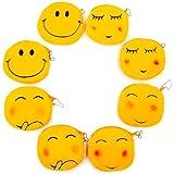 JZK 8 x Smiley peluche portafoglio portamonete Emoji 11 cm emoticon borsetta piccola velluto mini borsa cerniera regalo compl
