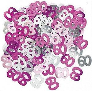 Gifts 4 All Occasions Limited SHATCHI-173 - Confeti para decoración de mesa (14 g, 60 cumpleaños), color rosa