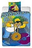 Jerry Fabrics JF0103 Bettwäscheset Homer DJ, 1x Bettdecke und 1x Kissenhülle, 140 x 200 und 70 x 90 cm, 100% Baumwolle