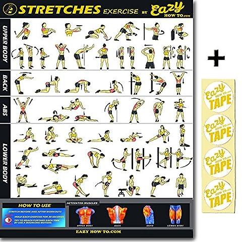Eazy How to stretch Poster d'exercice Fitness Big 51x 73cm augmenter flexibity, Réarrangement de Muscle, prévenir les blessures Tableau Home Gym