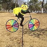 LANDUM Cute 3D Tier auf Fahrrad Windmühle Whirligig Garten Rasen Yard Decor Wind Spinner, Biene, Overall Height: 92 cm