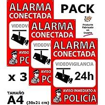 Pack de 3 Carteles disuasorios A4 interior/exterior