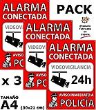 ★ Pack o Lote de 3 Carteles disuasorios A4 interior/exterior, placa disuasoria PVC expandido, cartel alarma conectada, 30x21 cm, rojo ★