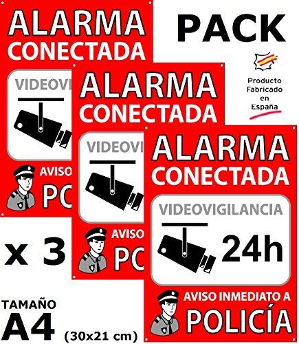 Pack de 3 Carteles disuasorios A4 interior/exterior, placa disuasoria PVC expandido, cartel alarma conectada, 30x21 cm, rojo