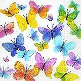 Fête, anniversaire - Serviettes jetables - motif: 'Papillons volants multicolores' -...