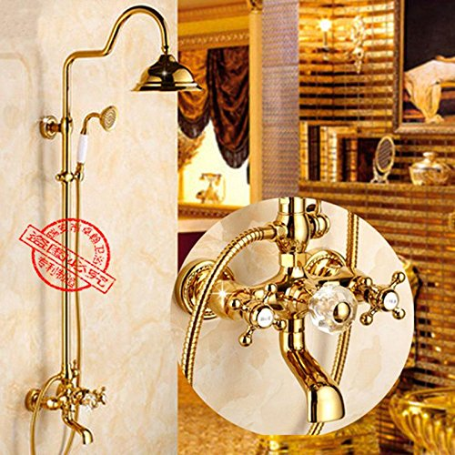 Luxurious shower Dusche Armaturen Dual Griff Niederschlag runden Duschkopf Wandhalterung Badezimmer Set Gold Dusche Set Messing gebürstet ausgesetzt Badewanne, Gold (Niederschlag Brunnen)