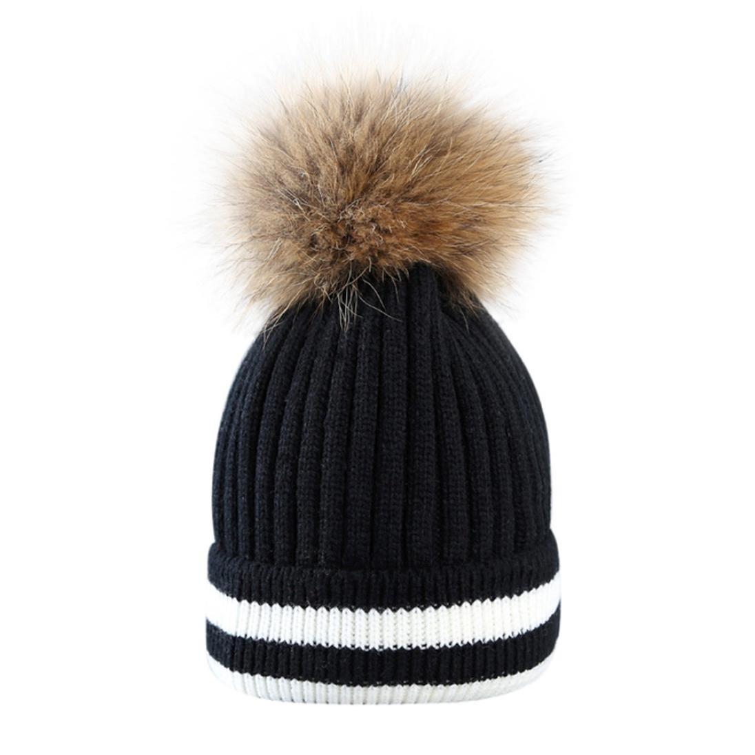 8eb86133f3aca1 Amlaiworld Winter warm gestreift Strickmützen Damen Niedlich Mädchen  Plüschkugel Caps zum häkeln Outdoor Hut