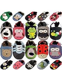 Chaussures Bébé Par MiniFeet, Chaussures Bébé en cuir Souple - Chaussons Bébé - Chaussures Premiers Pas - 0-6, 6-12, 12-18, 18-24 Mois et 2-3, 3-4 Ans