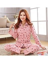 &zhou pijamas mujer ocio cardigan suelto mantenga cálido pijama grueso hogar ropa de invierno , shrimp , l