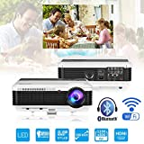 HD Bluetooth Wireless Android Projector WXGA 4500lumens 1080P HDMI Airplay Miracast Wifi Bluetooth LED Home Cinema Projector for Tablet iPad Mac Smartphone Outdoor Indoor Movies Games Entertainment