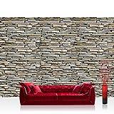 Fototapete 254x184 cm PREMIUM Wand Foto Tapete Wand Bild Papiertapete - Steinwand Tapete Steinmauer Steinoptik Steine Stein Steintapete Wandverblender grau - no. 1057