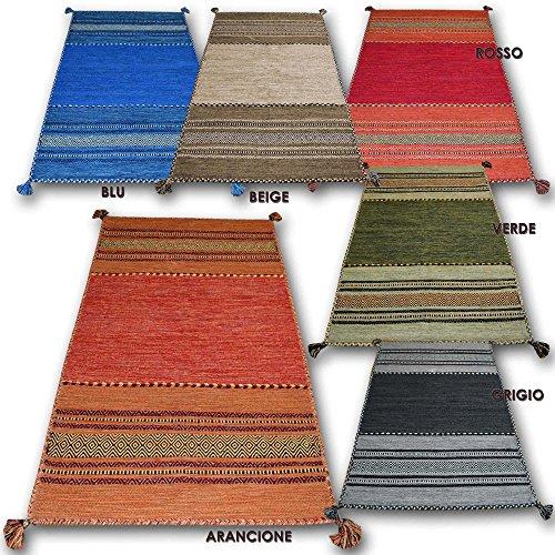Centesimo web shop tappeto 100% cotone kilim in 9 misure 6 colori multiuso camera letto studio cucina corridoio bagno passatoia margherite fiori - - 140x200 cm rosso