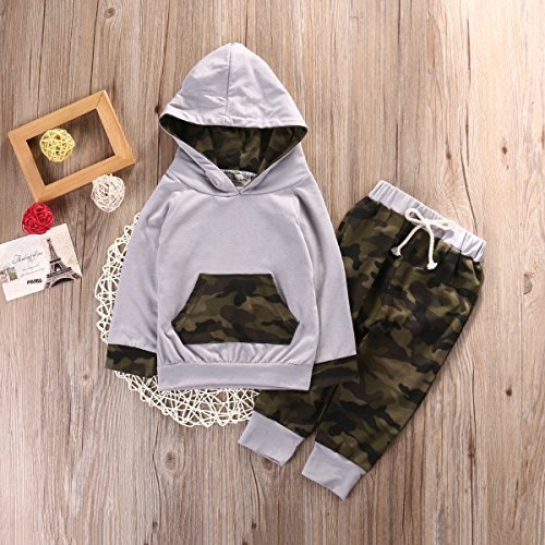 c5855f5f3 21% OFF on Newborn Infant Baby Boy Girls Camouflage Clothes Hooded T-shirt  Tops+Pants Outfits, Camo Gray (6-12 Months) on Amazon | PaisaWapas.com