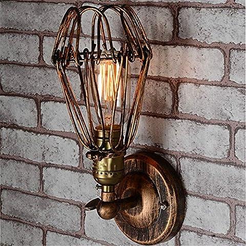 Lampe Murale lampe murale créative de la Personnalité Européenne de fer antique couvercle de lampe lampe murale avec l'interrupteur du couloir cage de fer petite lampe antidéflagrante tête simple wall