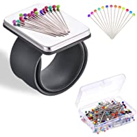 Magnetic Wrist Sewing Pincushion with 100 Pieces Colored Pins (38mm), Pin Cushion Holder for Hair Clips Sewing, Silicone Wrist Strap Bracelet Wristband (Black Bracelet)