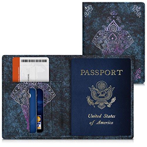 kwmobile Funda para pasaporte - Cubierta de [cuero sintético] para pasaporte DNI - Estuche con [ranuras para tarjetas] y diseño de elefante artístico