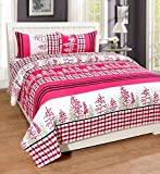 #10: Royal Ethnic Rectangular Cotton Double Bedsheet with 2 Pillow Covers - Floral (Pink White)