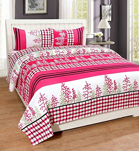 Royal Ethnic Rectangular Cotton Double Bedsheet with 2 Pillow Covers - Floral (Pink White)