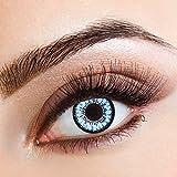 aricona Farblinsen farbige Kontaktlinsen mit Stärke blaue 12 Monatslinsen | natürliche Jahreslinsen für Big Eyes | bunte Contact Lenses blau farbig | - 4,5 Dioptrien
