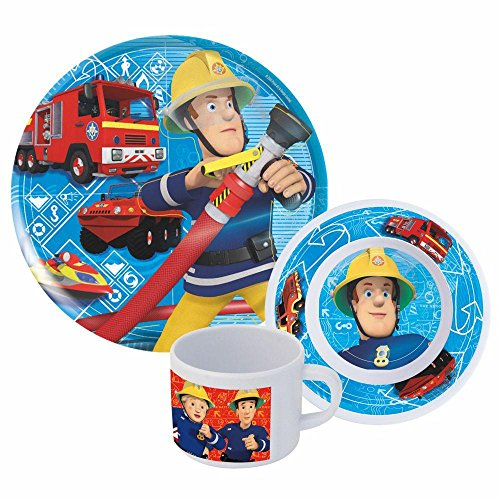 Feuerwehrmann Sam - Melamin Geschirr Set / Frühstück 3-teilig (Tasse Und Teller Set)