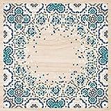 Cuadros Lifestyle 2D-Wandobjekt aus Holz | Ornament | Vektor | Muster | Floral | Holzbild | Shabby-Look | Landhaus | Vintage | Holzobjekt | Deko | Holzdruck | Geschenk, Größe:ca. 50x50cm