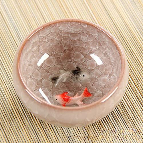 Tea Set 3d Ceramic Golden Fish China Tea Cup Kung Fu Cup Crackle Glaze Travel Tea Bowl Teacup Sets B - Crackle Glaze