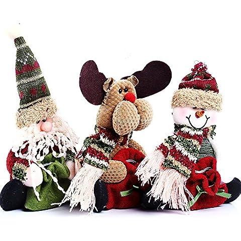 HAPPY ELEMENTS 3-in-1 Set Babbo Natale sveglio del pupazzo di neve dei cervi Figurine Candy Bags, ornamenti Decorazioni di Natale Gift Bag