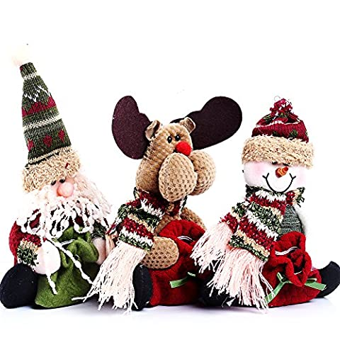 HAPPY ELEMENTS 3-in-1 Set Netter Weihnachtsmann Snowman Deer Figurine Beuter,