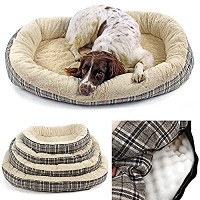 Jute Orthopaedic Soft Dog Bed in Plaid