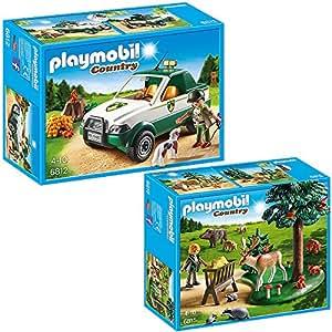 PLAYMOBIL® Country Set en 2 parties 6812 6815 Forestier avec Voiture tout terrain + Clairière avec Animal et Mangeoire