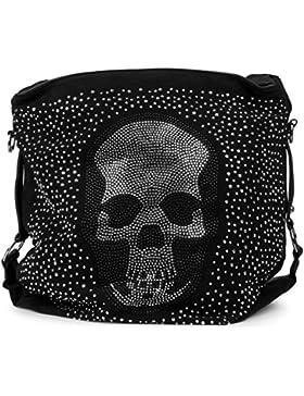styleBREAKER Beutel Handtasche mit Strass Totenkopf und Strass Nieten Applikation, Tasche, Damen 02012024