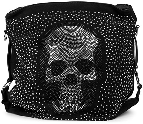 styleBREAKER Beutel Handtasche mit Strass Totenkopf und Strass Nieten Applikation, Tasche, Damen 02012024, Farbe:Schwarz (Handtasche Strass-totenkopf)