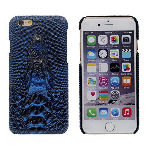 "iPhone 7 Coque Dur Case Fine Mince Style Poids léger, Etui Apple iPhone 7 4.7"", 3D Lifelike Crocodile Relief Anti Choc Housse de Protection pour iPhone 7 Bleu"